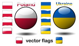 Flags, Poland - Ukraine Royalty Free Stock Image