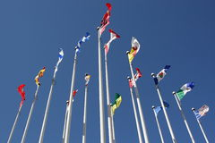 Flags on pole Stock Photography