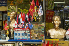 Flags and political propaganda shop in Ho Chi Minh Stock Image
