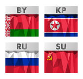 Flags in polygonal style Royalty Free Stock Image