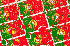Rain drops full of flags of Portugal Royalty Free Stock Image