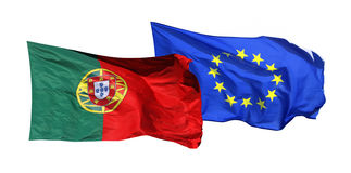 Flags of Portugal and EU, isolated on white Stock Photo