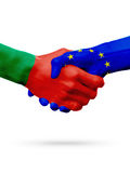 Flags Portugal, European Union countries, partnership friendship handshake concept. Royalty Free Stock Image