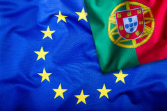 Flags of the Portugal and the European Union. Portugal Flag and EU Flag. Flag inside stars. World flag concept Royalty Free Stock Photo
