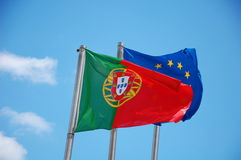 Flags of Portugal and European Union Stock Photography