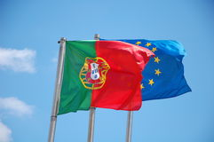 Flags of Portugal and European Union Stock Photo
