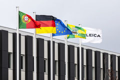 The flags of Portugal, Germany, EU, Vila Nova de Famalicao Stock Photo