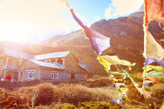 Flags with prayer in Nepal Royalty Free Stock Image