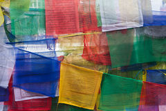 Flags with prayers at Swayambhunath Stupa, Nepal Stock Photo