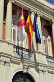 Flags in the Provincial Council of Ciudad Real, Spain. The building where is located the Provincial Council, Deputation of Ciudad Real, Castilla la Mancha, Spain Stock Photography