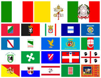 Flags Regions of Italy Royalty Free Stock Photos