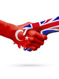 Flags Republic of Turkey, United Kingdom countries, partnership friendship handshake concept. Royalty Free Stock Photo