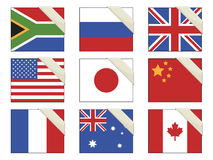 Flags with ribbons Royalty Free Stock Photo