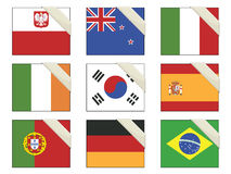 Flags with ribbons stock illustration