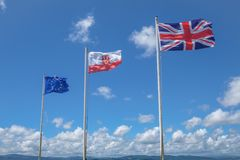 Flags on The Rock of Gibralta. Royalty Free Stock Images