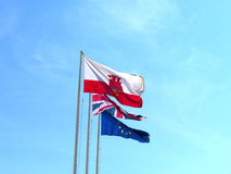 Flags on the Rock of Gibraltar at the entrance to the Mediterranean Sea Royalty Free Stock Photo