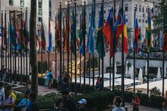 Flags at the Rockefeller Plaza, New York, USA. royalty free stock images