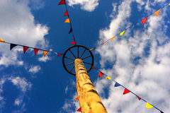 Flags on the rope to a pole in the sky Stock Photos