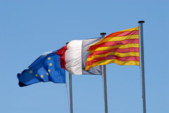 Flags of Roussillon, France and EU Stock Images