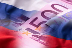 Flags of the Russia and euro banknotes Royalty Free Stock Photos