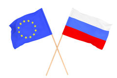 Flags of Russia and European Union Royalty Free Stock Photography
