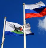 Flags of Russia and Irkutskaya oblast Stock Photo