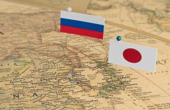 World map with flags royalty free stock photo