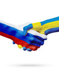 Flags Russia, Sweden countries, partnership friendship handshake concept. Flags Russia, Sweden countries, handshake cooperation, partnership, friendship or royalty free stock images