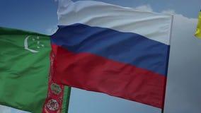 Flags Russia, Turkmenistan Ukraine. Gas, Customs Union, Soviet. Stock footage stock video footage