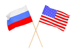 Flags of Russia and USA. On a white background Royalty Free Stock Photo