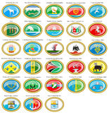 Flags of the Russian cities. Set of icons. Flags of the Russian cities Volga Federal District Royalty Free Stock Images