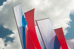 Flags in Russian colors Stock Photo