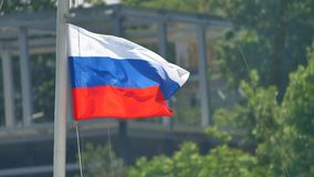 Flags of Russian Federation. Waving flags against stock video footage