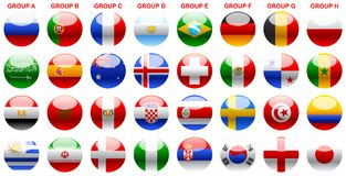 Flags s world cup soccer Russia 2018. World Cup 2018, World Cup Russia 2018, soccer buttons, flags, participants 2018 world cup, shields of countries Stock Image