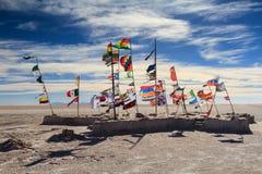 Flags at the Salar de Uyuni Stock Images