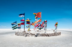 Flags in Salar de Uyuni - Bolivia Royalty Free Stock Photos