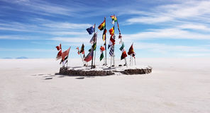 Flags on the salt flat Royalty Free Stock Photography