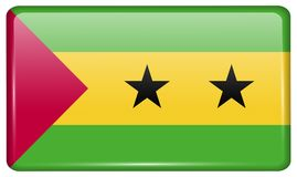 Flags Sao Tome Principe in the form of a magnet on refrigerator with reflections light. Flags of Sao Tome and Principe in the form of a magnet on refrigerator Stock Photos