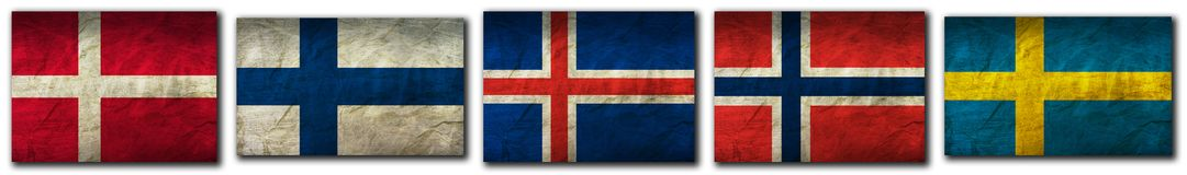 Flags of Scandinavia. Flag on an old Paper Texture Royalty Free Stock Photography