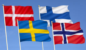 Flags of Scandinavia - Northern Europe. Flags of Scandinavia - Denmark, Finland, Sweden and Norway Royalty Free Stock Photos