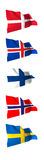 Flags of Scandinavia. Flags of the Scandinavian Countries, Denmark, Iceland, Sweden, Norway and Finland Stock Photo