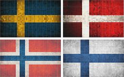 Flags of Scandinavia Stock Photos
