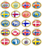 Flags of Scandinavian countries. Stock Photos