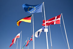 Flags. Scene with european flags and blue sky Stock Photography