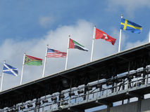 Flags of Scotland, USA, Switzerland, Sweden and other countries Royalty Free Stock Image