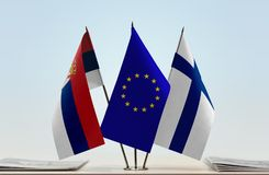 Flags of Serbia European Union and Finland. Desktop flags of Serbia European Union and Finland Royalty Free Stock Photography