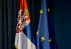 Flags of Serbia and European Union Stock Photos