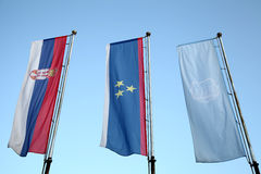 Flags of Serbia, Vojvodina and city of Novi SAd Royalty Free Stock Images