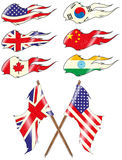Flags Set. Flag sets grunge east west powers ,vintage flags Stock Image