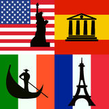 Flags set of America, Spain, Italy and France with sights Royalty Free Stock Images
